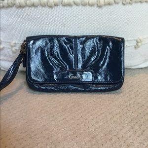 Coach Wristlet Blue Patent Leather
